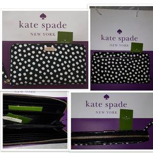 NWT Kate Spade Wallet Large Zip around Neda Dots